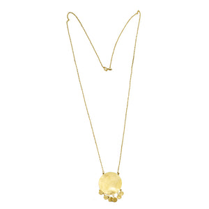 Euro Gold Sun Tassle Drop Necklace A7