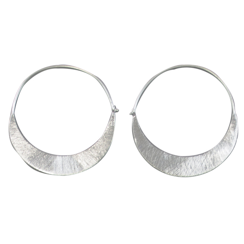 Euro Silver Crescent Hoop Earrings C2