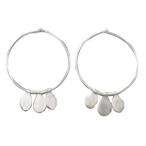 Euro Silver Three Drop Hoop Earrings C1