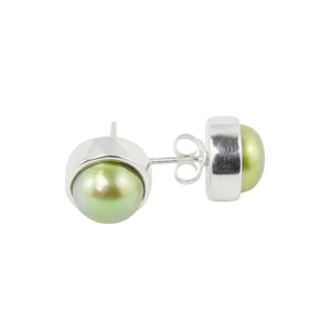 Green Pearl Sterling Silver Stud Earrings