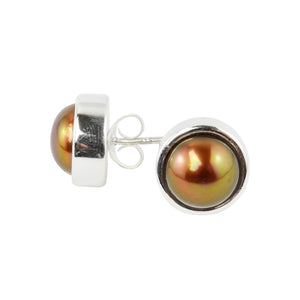 Brown Pearl Sterling Silver  Stud Earrings