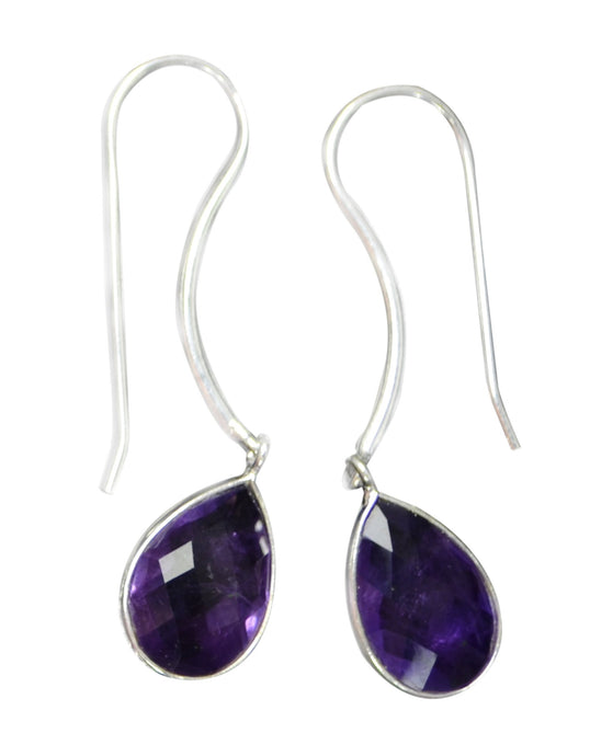 Sterling Silver Amethyst Long Gemstone Earrings
