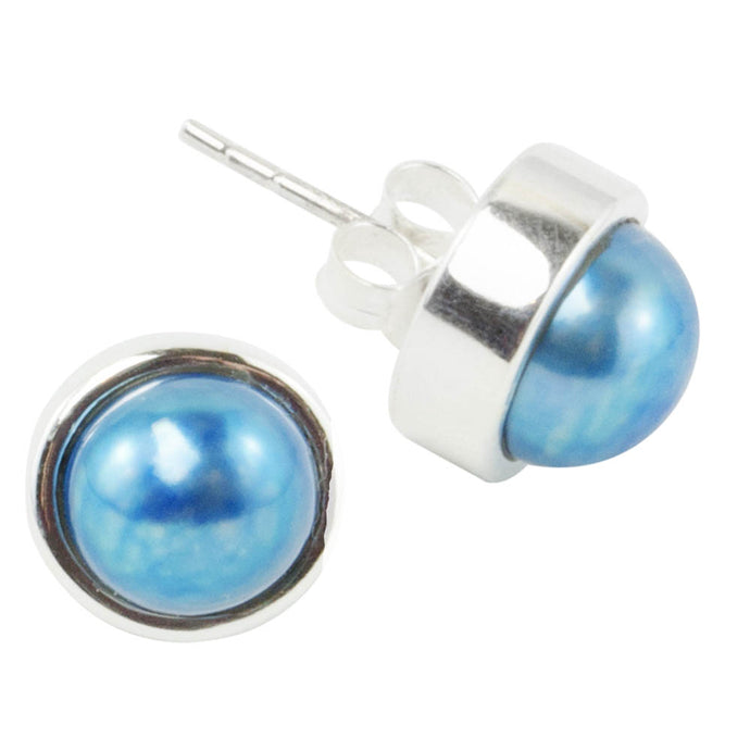 Blue Pearl Sterling Silver  Stud Earrings