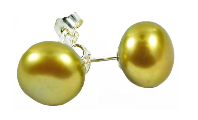 Lime Green Pearl Earrings Silver Studs 9mm
