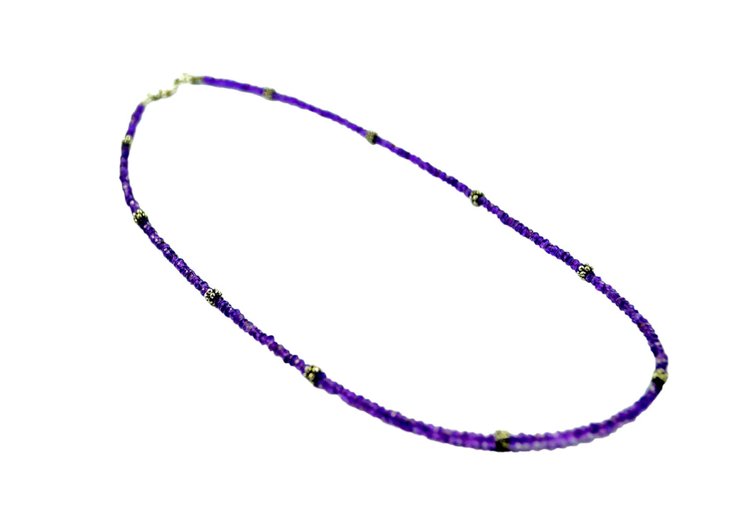 Faceted Amethyst Gemstone Necklace with oxidised beads 45cm,  3mm -