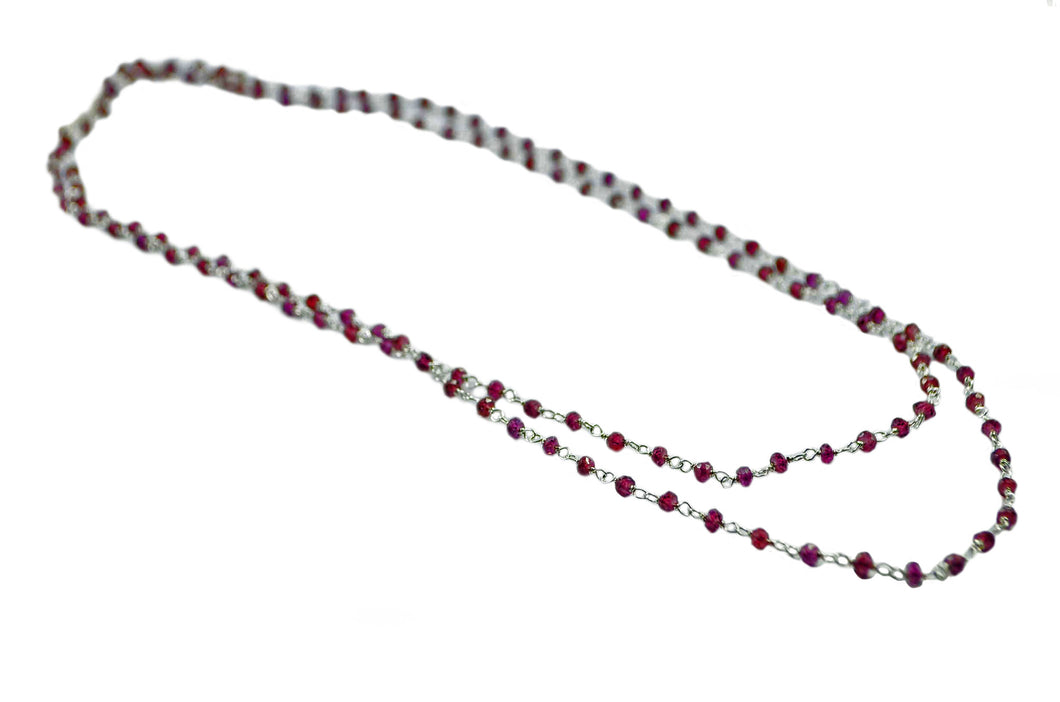 Faceted Garnet Chain Necklace 90cm,  3mm -