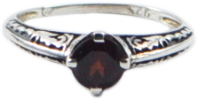 Sterling Silver Garnet Antique Style Ring