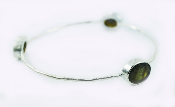 Sterling Silver Laboradorite Bangle Lg