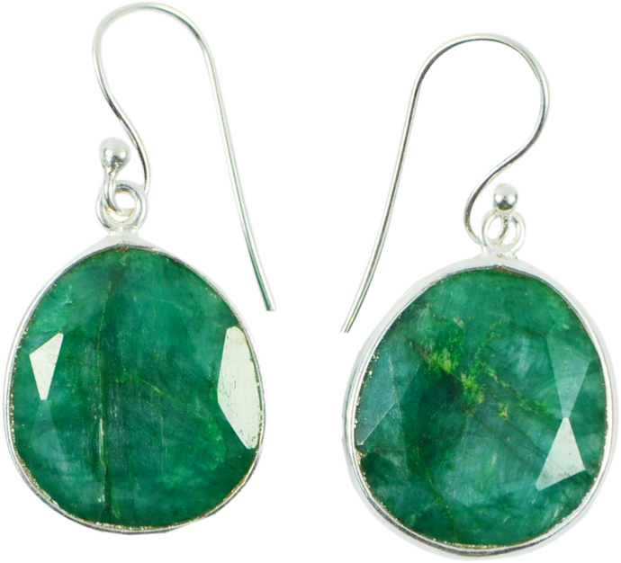 Sterling Silver Rock Emerald Fine Set Earring Drops