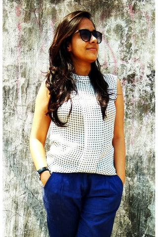 Box Pleat Checkered Top