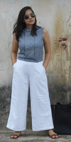 Aaina by Sanchari-Denim Striped Blue and White Jumpsuit
