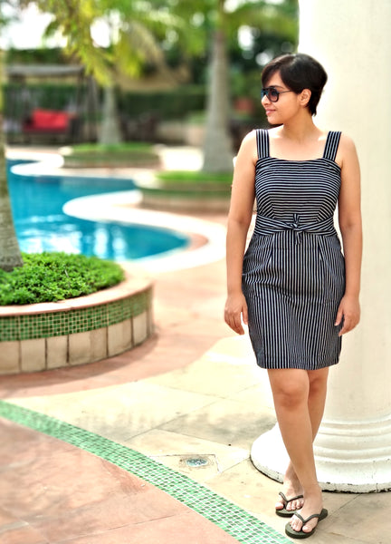 Aaina by Sanchari-Pinstripe Denim Tie-up Dress