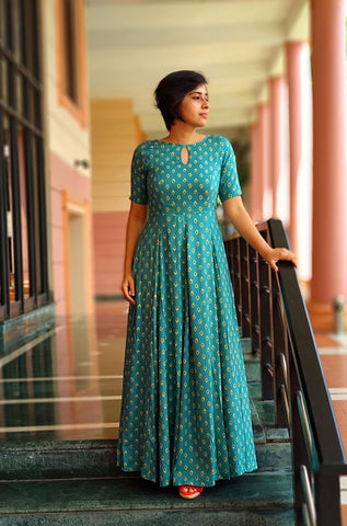 Aaina by Sanchari-Teal Fit and Flare Maxi Dress