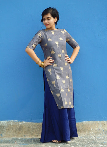 Aaina by Sanchari-Grey Long Kurti with Blue Flared Palazzo