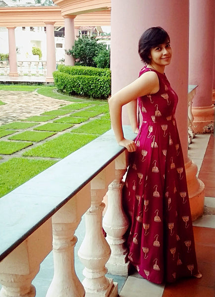 Aaina by Sanchari-Wine Jhumka Print Fit & Flare Maxi Dress