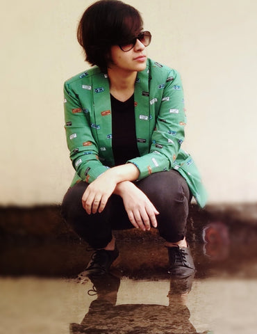 Aaina by Sanchari-Quirky Green Blazer