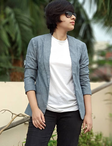 Aaina by Sanchari-Girl Boss Denim Striped Blazer