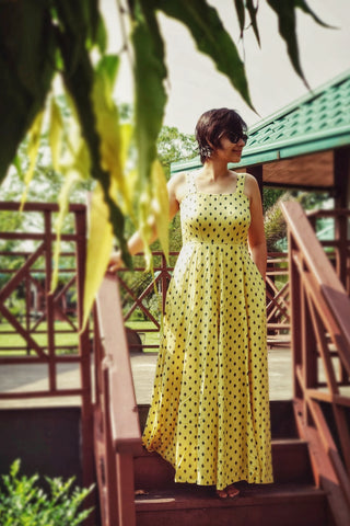 Aaina by Sanchari-Yellow Fit and Flare Maxi Dress