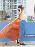 Aaina by Sanchari-Rust Flared Front Open Maxi Cape with White Chambray Crop Top