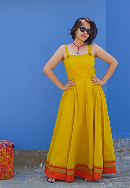 Aaina by Sanchari-Yellow Flared Khadi Cotton Maxi Dress with Borders