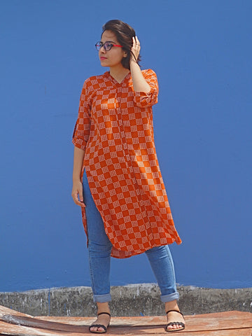 Aaina by Sanchari-Rust Straight Fit Long Kurti