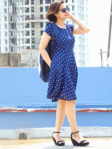 Aaina by Sanchari-Blue Star Print Skater Dress with Pockets