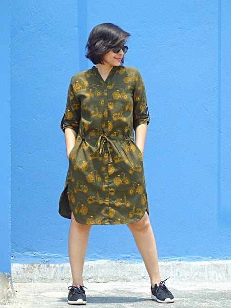 Aaina by Sanchari-Olive Green Drop Waist Dress with Quirky Bike Print