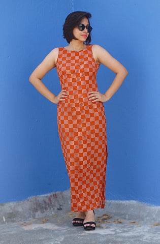 Aaina by Sanchari-Rust Printed Maxi Dress with One Sided Split