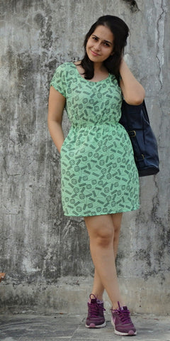 Aaina by Sanchari-Casual Green Dress