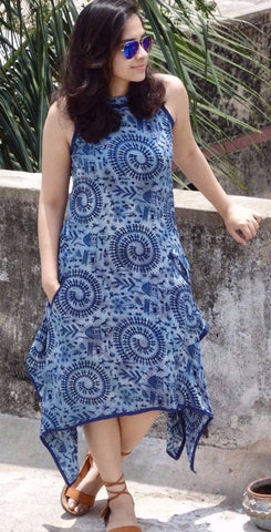 Aaina by Sanchari-Asymmetrical Indigo Blue Dress cum Tunic