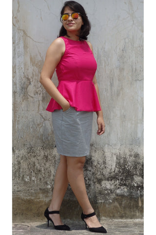 Aaina by Sanchari-Peplum Hot Pink Top