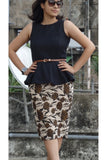 Aaina by Sanchari-Jute Pencil Skirt