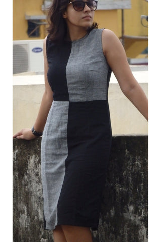 Aaina by Sanchari-Color Block Black Grey Pencil Dress