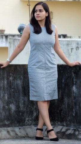 Aaina by Sanchari-Denim striped Sheath Dress