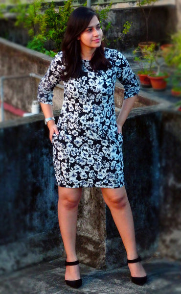 Aaina by Sanchari-Floral Black Dress