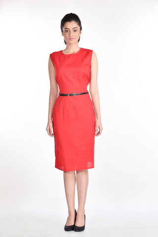 Aaina by Sanchari-Red Pencil Dress