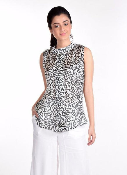 Aaina by Sanchari-Leopard Wrinkle-free Box Pleated Top