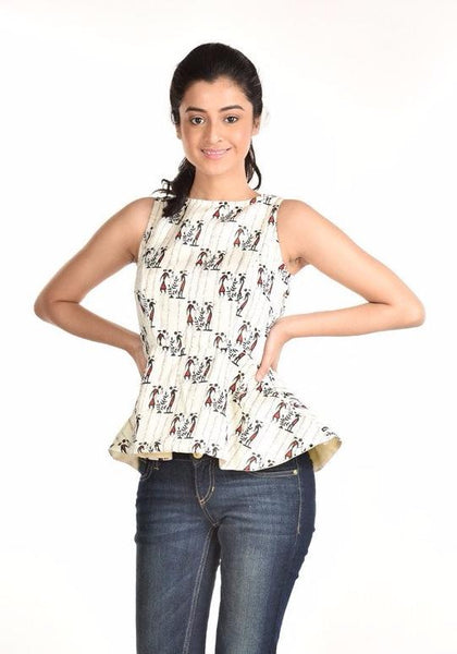 Aaina by Sanchari-White Warli Print Peplum Top