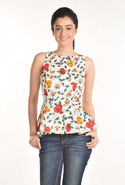 Aaina by Sanchari-White Floral Peplum Top
