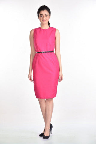 Aaina by Sanchari-Hot Pink Pencil Dress