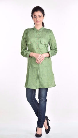 Aaina by Sanchari-Earthy Green Tunic