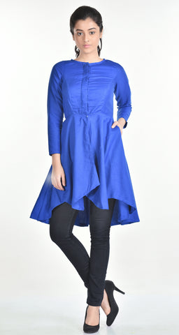 Aaina by Sanchari-Asymmetrical Blue Tunic