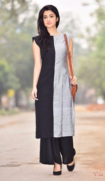 Aaina by Sanchari-Black Grey Kurti