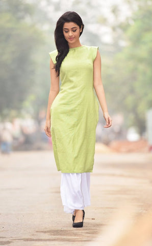Aaina by Sanchari-Lime Green Kurti and Palazzo Set