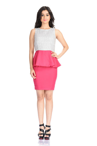 Aaina by Sanchari-Silver Sequins Hot Pink Peplum Dress