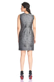 Aaina by Sanchari-Abstract Print Grey Pencil Dress