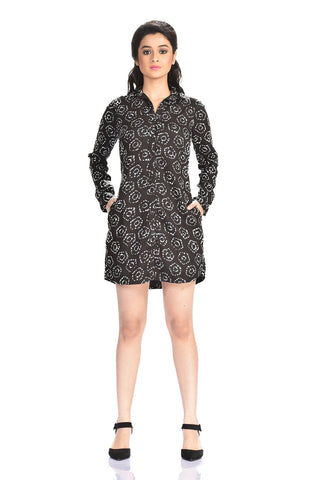 Aaina by Sanchari-Black Printed Shirt Dress cum Tunic