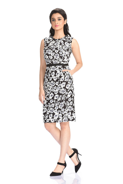 Aaina by Sanchari-Black & White Floral Pencil Dress