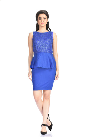 Aaina by Sanchari-Blue Sequins Peplum Dress