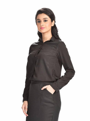 Aaina by Sanchari-Women Black Formal Shirt